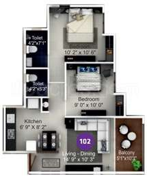 ITrend Homes - 2BHK+2T(9), Carpet Area: 587 sq ft, Apartment