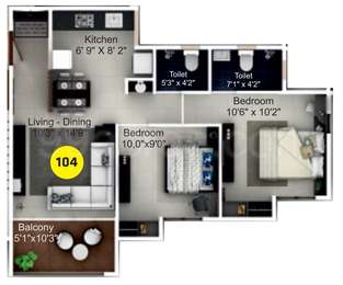 ITrend Homes - 2BHK+2T(11), Carpet Area: 606 sq ft, Apartment