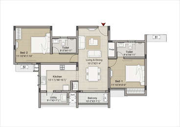 2 BHK Apartment in Krishna Meadows