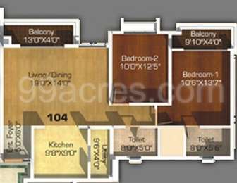 2 BHK Apartment in Megapolis Sangria Towers