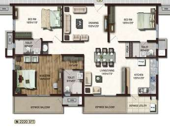 Lansum Etania - 3BHK+3T+Pooja(4), Super Area: 2220 sq ft, Apartment