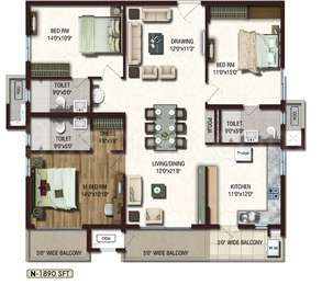 Lansum Etania - 3BHK+3T+Pooja(1), Super Area: 1890 sq ft, Apartment