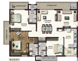 Lansum Etania - 3BHK+3T+Pooja(2), Super Area: 2135 sq ft, Apartment
