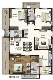 Lansum Etania - 3BHK+3T+Pooja(5), Super Area: 2230 sq ft, Apartment