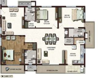 Lansum Etania - 3BHK+3T+Pooja+Store(8), Super Area: 2480 sq ft, Apartment