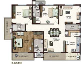 Lansum Etania - 3BHK+3T+Pooja+Store(9), Super Area: 2505 sq ft, Apartment