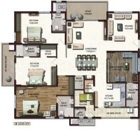 Lansum Etania - 3BHK+5T+Pooja+Store+Servant Room(10), Super Area: 3230 sq ft, Apartment