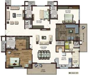Lansum Etania - 3BHK+5T+Pooja+Store+Servant Room(12), Super Area: 3265 sq ft, Apartment
