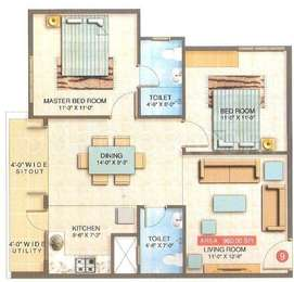 2 BHK Apartment in Sai Ram Residency