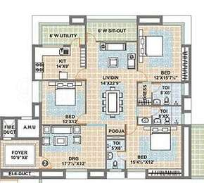 3 BHK Apartment in Meenakshi Sky Lounge