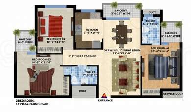3 BHK Apartment in Mona City