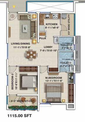 My Home Vihanga 2bhk 1 Super Area 1115 Sq Ft