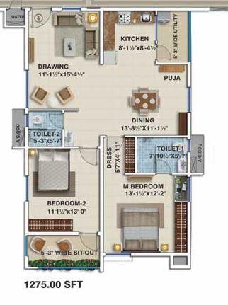 2bhk 2 Super Area 1275 Sq Ft Apartment