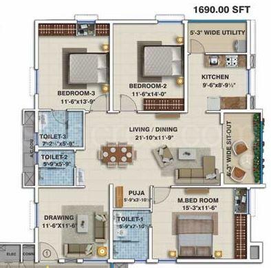 3bhk 3 Super Area 1690 Sq Ft Apartment