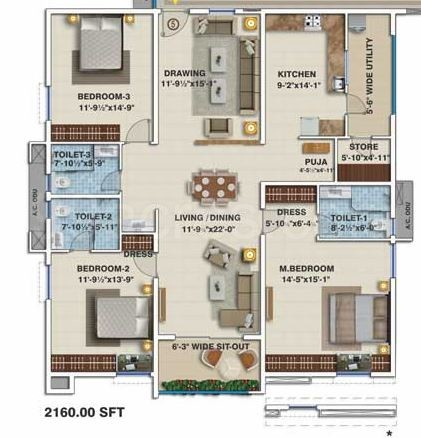 3BHK(6) Super Area: 2160 Sq Ft, Apartment