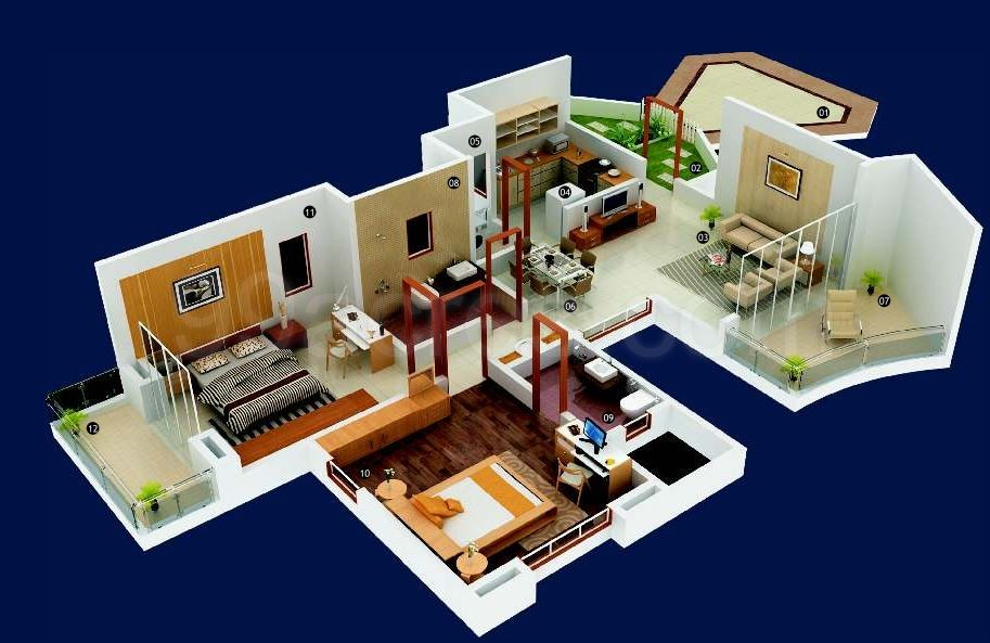 2bhk2 super area 1156 sq ft apartment