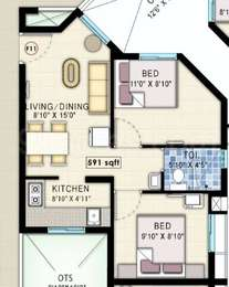 2 BHK Apartment in Navins Starwood Towers
