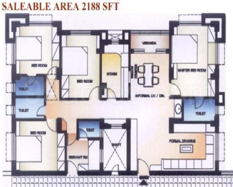 Super Area 2188 Sq Ft Apartment