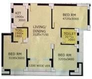 3 BHK Apartment in NBCC Vibgyor Towers