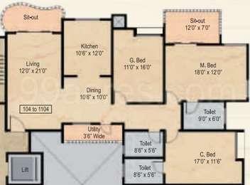 3 BHK Apartment in Nyati Windchimes