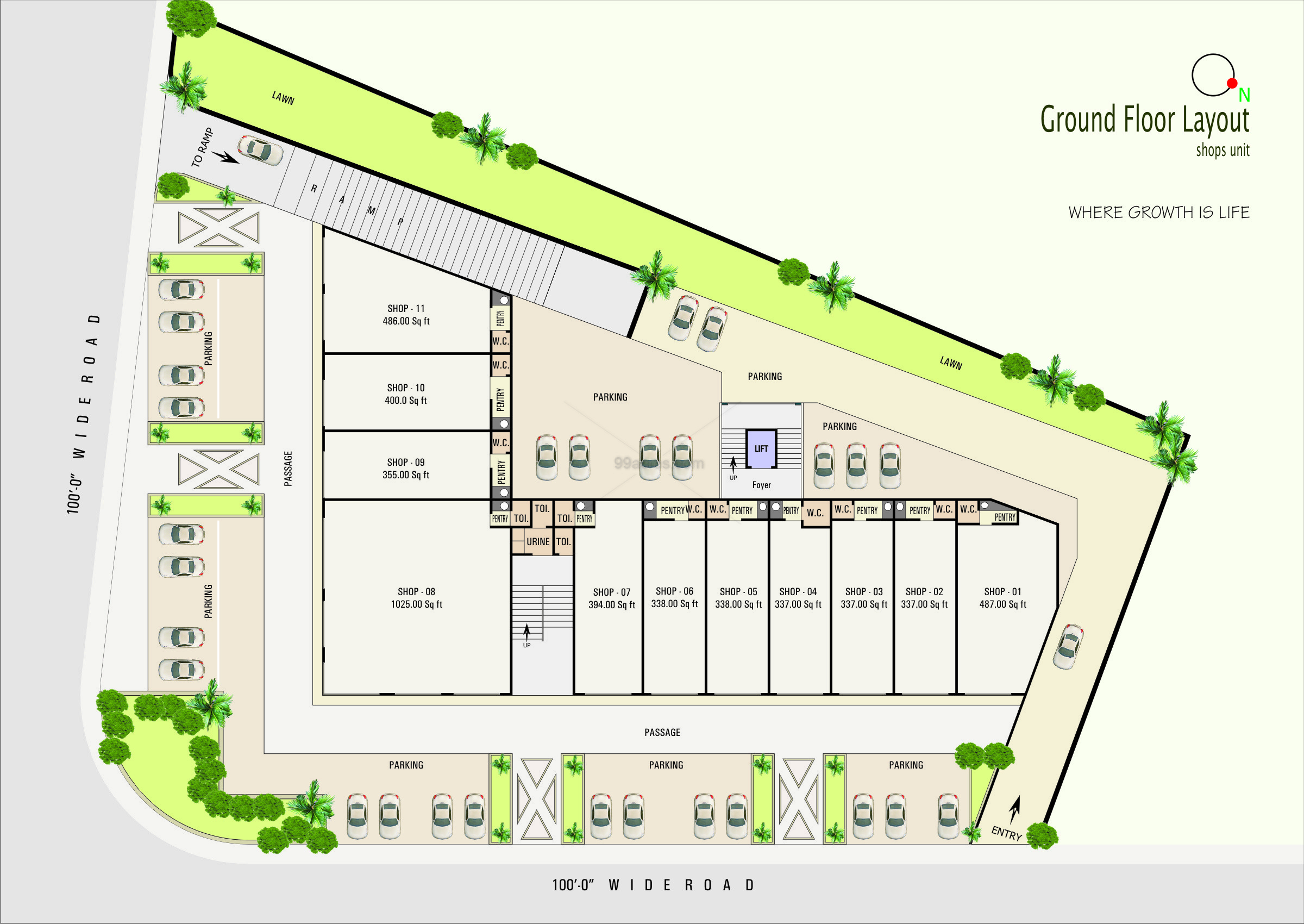 100 Commercial Complex Floor Plan 2 And 3 Bhk Flat
