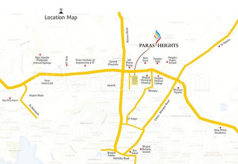 Paras Homes Paras Heights Map Paras Heights Ayodhya Bypass Bhopal