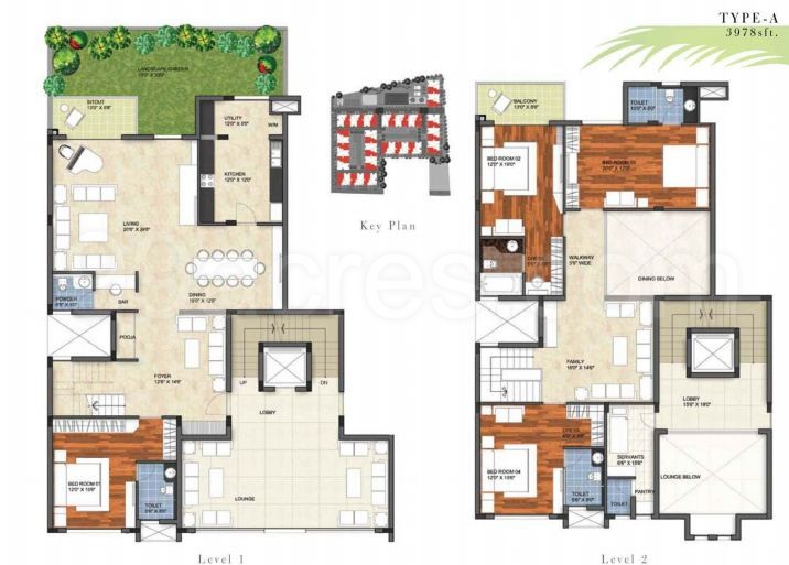 4bhk4tservant room2 super area 3978 sq ft apartment - Garden By The Bay Floor Plan