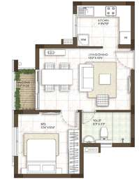1 BHK Apartment in Prestige Courtyards
