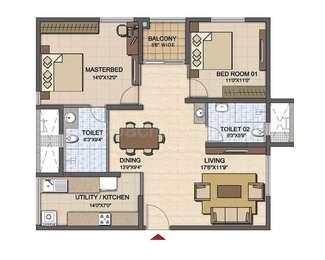 2 BHK Apartment in Prestige High Fields