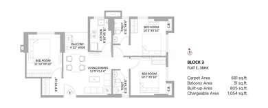 PS Amistad - 3BHK(5), Super Area: 1054 sq ft, Apartment