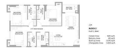 PS Amistad - 3BHK(12), Super Area: 1409 sq ft, Apartment