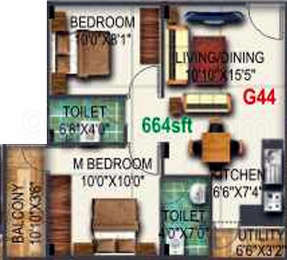 2 BHK Apartment in Pyramid Bilberry