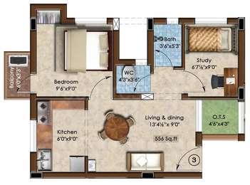 2 BHK Apartment in Rajparis Crystal Spring 2
