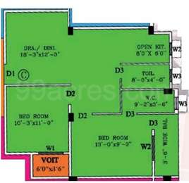 2 BHK Apartment in Rechi Anandi Park