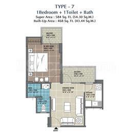 1 BHK Apartment in RG Residency