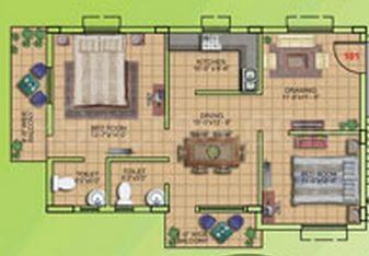 2 BHK Apartment in De Habitat