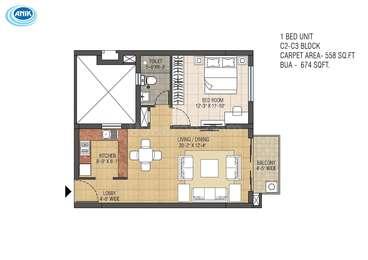 1 BHK Apartment in Anik One Rajarhat