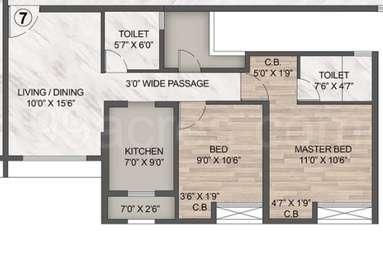 2 BHK Apartment in Rustomjee Urbania