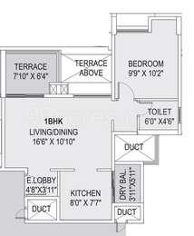 1 BHK Apartment in Saarrthi Skybay