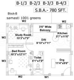1 BHK Apartment in Samasti 1001 Greens