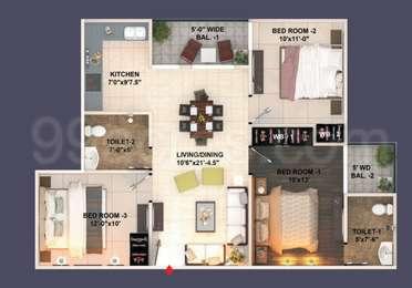 3 BHK Apartment in Aishwaryam Apartments