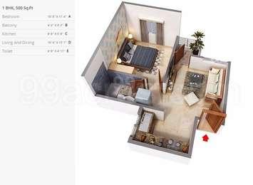 1 BHK Apartment in Bengal Shapoorji Shukhobristhi