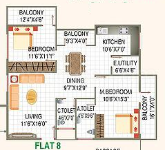 2 BHK Apartment in Shoban Silver Domicile
