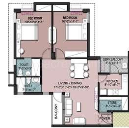 2 BHK Apartment in Shrachi Greenwood Nest