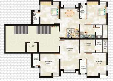 2 BHK Apartment in Shreenathiji Rainbow City 2