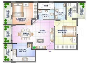 2 BHK Apartment in Sowparnika Sanvi Phase 2