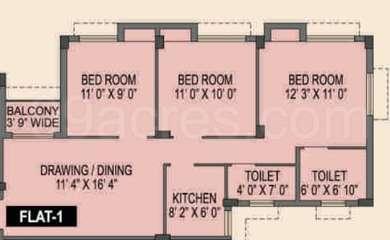 Spotlight Rainbow - 3BHK(20), Super Area: 1078 sq ft, Apartment