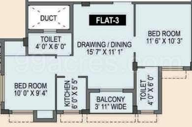 Spotlight Rainbow - 2BHK+2T(5), Super Area: 814 sq ft, Apartment
