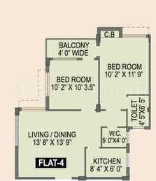 Spotlight Rainbow - 2BHK+2T(15), Super Area: 894 sq ft, Apartment