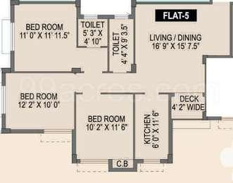 Spotlight Rainbow - 3BHK+2T(27), Super Area: 1191 sq ft, Apartment